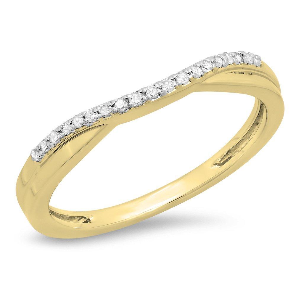 Dazzlingrock Collection 0.11 Carat (ctw) 10K Round Cut White Topaz Ladies Wedding Guard Contour Band, Yellow Gold, Size 6.5