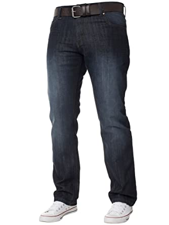 Mens Denim Jeans Regular Fit Straight Leg Trousers Pants With Free Leather Belt