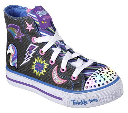 Skechers Kids Girls' Shuffles-Twist N'Turns Sneaker,black/multi,12 M US Little - Toes Twinkle