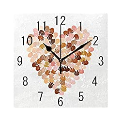 Square Wall Clock Battery Operated Quartz Analog Quiet Desk 8 Inch Clock, Heart Shape Image Filled with Colorful Hand Prints Open Palms for Unity and Empathy