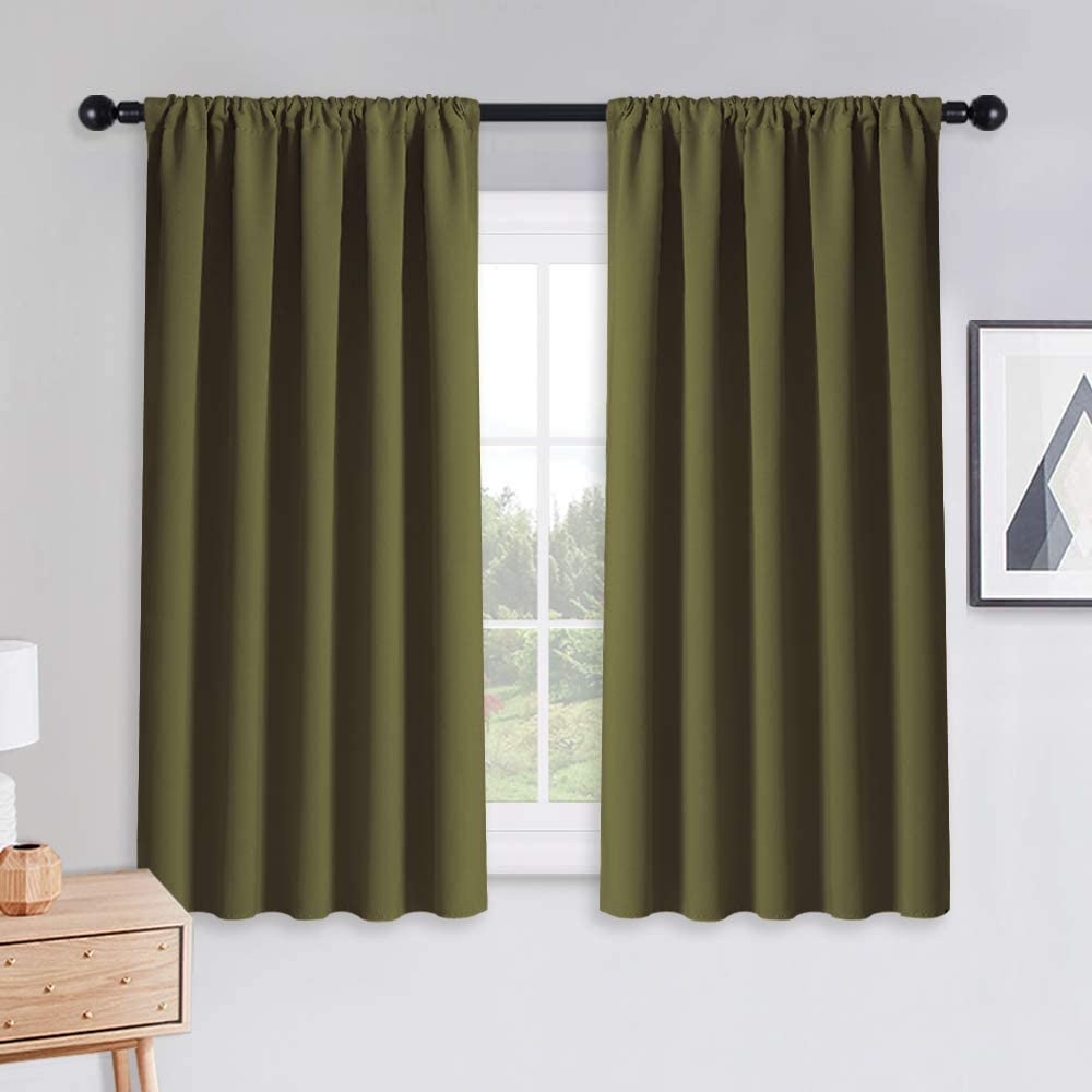 PONY DANCE Kitchen Curtains Short - Thermal Insulated Window Treatments Blackout Curtain Panels with Rod Pocket Xmas Home Decor for Bathroom, Wide 52 by Long 45 inch, Olive Green, 2 Pieces