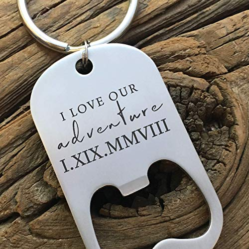 Personalized Gift for Him Keychain Bottle Opener Valentines Day Men