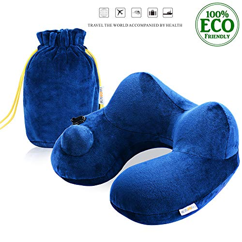 FINDANOR Inflatable Travel Pillow with Washable Soft Velvet Cover,Ergonomically Design, Travel Pillows for Airplanes,Car, Bus and Office Napping, Free Storage Bag. (Blue)
