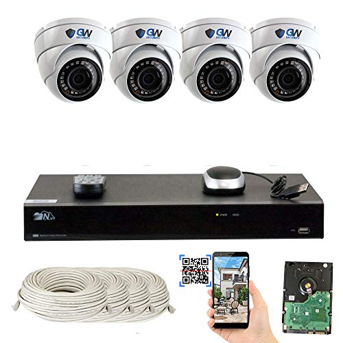 Cheap GW Security 8 Channel 4K NVR 5 Megapixel H.265 Security Camera System, 4 Built-in Microphone Audio Recording HD 1920P IP PoE Dome Cameras, QR-Code Connection