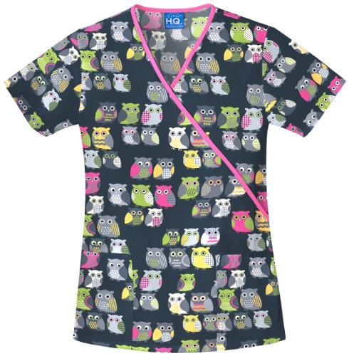 (Scrub H.Q. by Cherokee Women's Mock Wrap Owl Print Scrub Top X-Small Print)