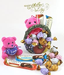 Mothers day chocolate Basket. Ceramic wine designed hand painted basket. Includes delicious Godiva 2 bars, and 8 chocolate truffles.