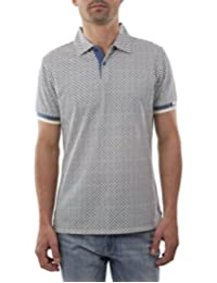 Playera Polo Manga Corta Slim Fit Azul Grisaceo