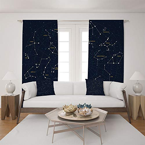 2 Panel Set Satin Window Drapes Living Room Curtains and 2 Pillowcases,Lacerta Cygnus Lyra Hercules Draco Bootes Lynx,The perfect combination of curtains and pillows makes your living room (Pittsburgh Steelers Window Drape)