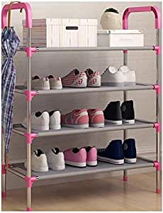 4 Tiers Shoe Rack Organizer, Non Woven Fabric, 12 Pairs, Pink