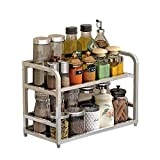 201 Stainless Steel Spice Rack, Kitchen Counter Storage Rack, Seasoning Tank Storage 401623Cm