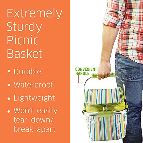 Preserve Food Basket – Collapsible Insulated Picnic Tote Drinks Cooler Bag Storage for Parties BBQs