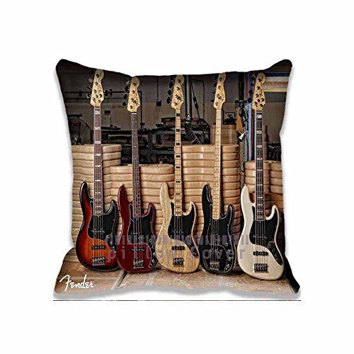 Fender Guitar Bass Unique Throw Pillow Covers Print , Fantasy Pillows Bedroom Cotton Case music Decorative Pillowcase Set for Home and Hotel
