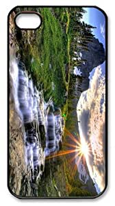 cover indestructible Waterfall Mountain Sunset PC Black Case for iphone 4/4S