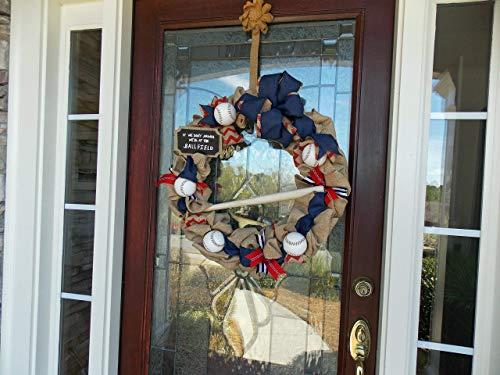 Baseball Wreath with Real Baseballs & Wooden Bat