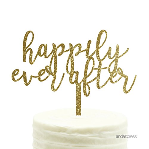 Andaz Press Wedding Acrylic Cake Toppers, Gold Glitter, Happily Ever After, 1-Pack