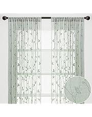 Chanasya Sheer Curtains 2 Panels Set - Embroidered Vine Leaf Patterned Elegant Chic Sheer Curtain Panels for Living Room Bedroom Kitchen Windows Patio - Light Filtering Window Treatment Drapes