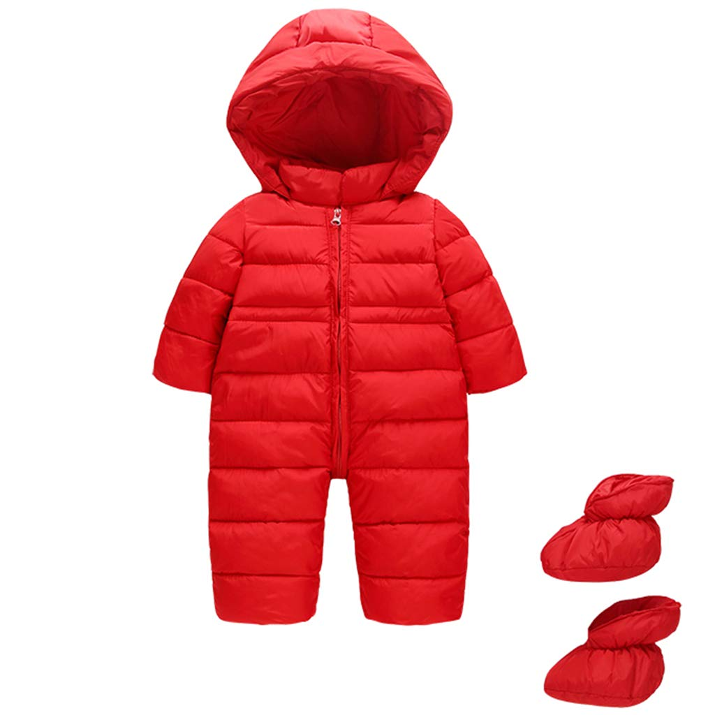 JiAmy Baby Winter Hooded Romper Snowsuit with Booties Warm Jumpsuit Outfits for 6-24 Months