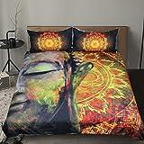 Sleepwish Mandala Buddha Duvet Cover Buddhist Bedding Golden Zen Peace Meditation Design Bed Spreads (King)