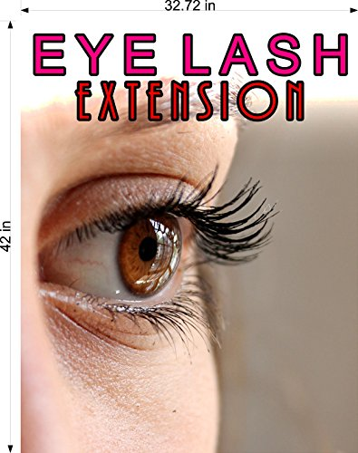 Cmyads.net Eyelash V Eyelashes Eye Lash Extensions Woman Cosmetic Perforated Window Removing Hair See Though Salon Poster Vinyl 70/30 Tweezers Thin Out Shape Horizontal (42