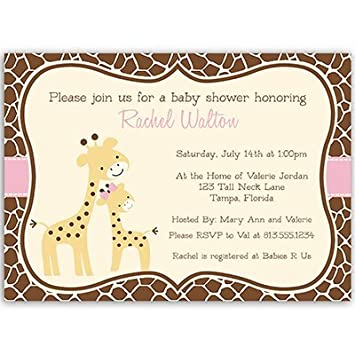 Amazon giraffe baby shower invitations girls baby girl pink giraffe baby shower invitations girls baby girl pink brown safari filmwisefo