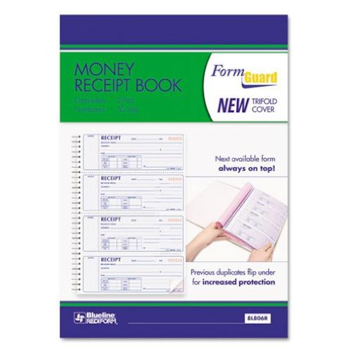 Rediform Formguard Money Receipt Book, Four per Page, 2.75 x 7 Inches, 200 Pages (8L806R) REDIFORM OFFICE PRODUCTS 9296989