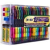 June Gold 72 Mechanical Pencils, 0.9 mm HB #2 Lead, 2 Lead Dispensers/w 120 Refills & 16 Refill Erasers, Break Resistant Lead, Convenient Side Click & Soft Non-Slip Grip