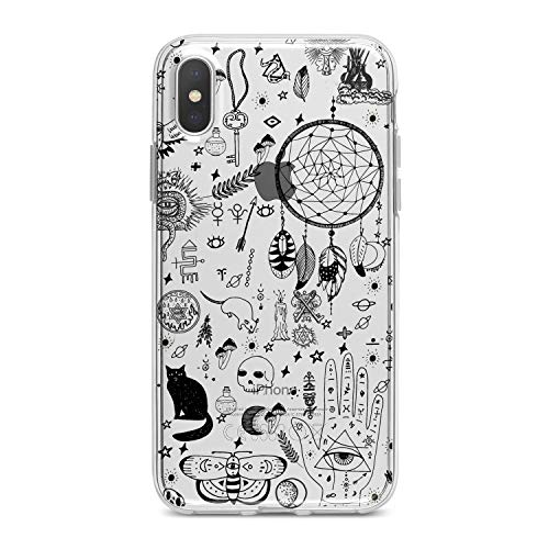 Lex Altern TPU Case for iPhone Apple Xs Max Xr 10 X 8+ 7 6s 6 SE 5s 5 Flexible Print Black Cat Art Women Kids Smooth Cover Clear Girl Halloween Slim fit Witchcraft Soft Lightweight Design Gift Cute
