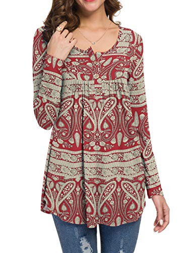 WANGZHI Plus Size Tops for Women, Henley V Neck Printed Long Sleeve Tunic Shirts for Women to Wear with Leggings (2XL,Flower-Red)