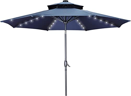 2 Tiers Vented 10Ft Patio Umbrella Lights Market Table Umbrella Offset Tilt