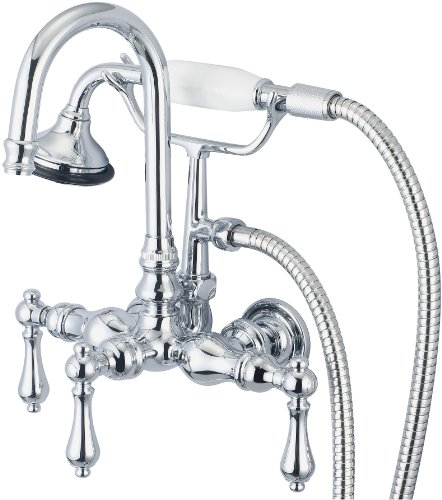 Water Creation F6-0012-01-CL Vintage Classic 3-3/8-Inch Center Wall Mount Tub Faucet with Gooseneck Spout, Straight Wall Connector and Handheld Shower - Gooseneck Clawfoot Tub Faucet