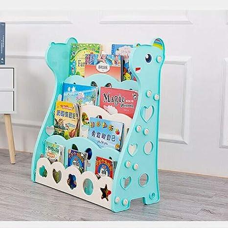 Playroom Kindergarten 85 x 70 x 30 cm WDW Kids Bookshelf Blue Childrens Plastic Bookcase Rack with Easy Access 4 Display Shelves for Nursery
