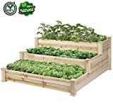 HomeTech Fir Wood 3 Tier Elevated Raised Garden Bed Planter Box Grow Gardening Kit Natural | Grow Plant And Vegetable Use This Bed on Your Patio Lawn or Garden | Easy Grow Durable Step Stair Design