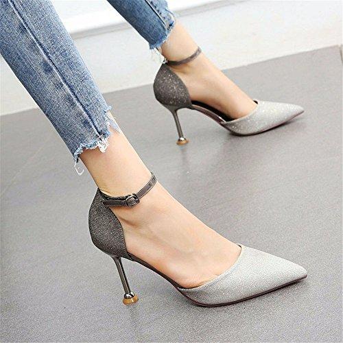 Pailletten Mode Stiletto Flachen Schuhe Farbabgleich Schuhe Mund Arbeit Schuhe Damen Bankett High Heel Party YMFIE Bzaxwq