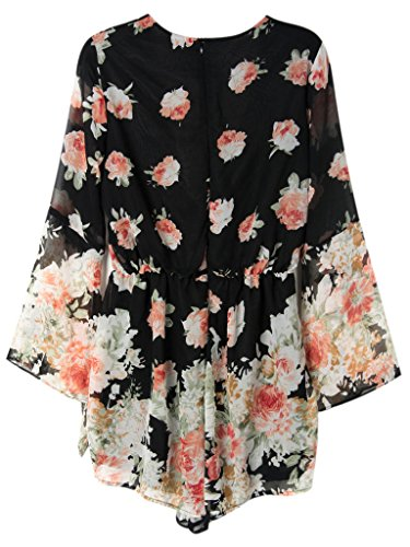3776e7f0bff Persun Women Limited Black Floral Print Romper Playsuit With Long Flare  Sleeves
