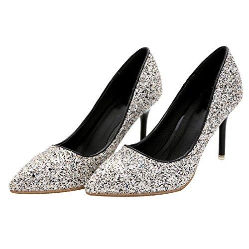 HooH Damen Shiny Pointed Toe Non-skid Stiletto Abendschuhe Pumps Grau