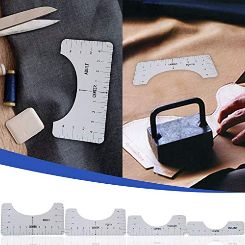 T-Shirt Alignment Ruler,4PCS Craft Ruler with Guide Tool for Fashion Design Tshirt Ruler Guide Vinyl Ruler Guide Size Chart (White, 4PC)