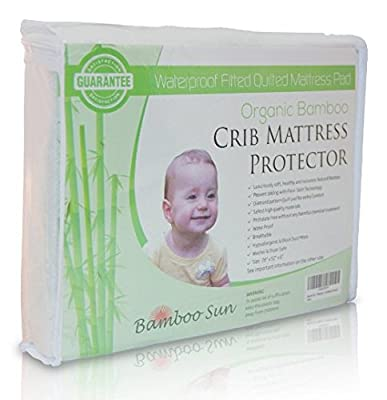 New, Improved and Organic Bamboo Crib Mattress Protector - Waterproof Fitted Quilted Mattress Pad…