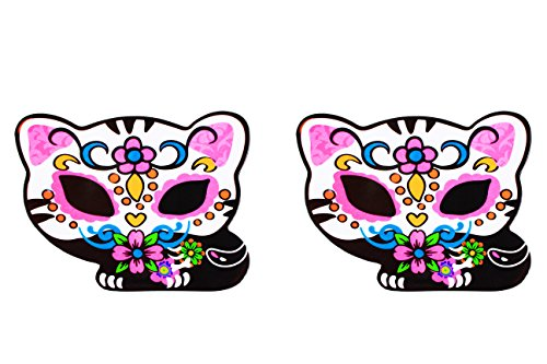 [Sugar Skull Day of the Dead Kitty Plate 2 Pack] (Pirate Kitty Costume)