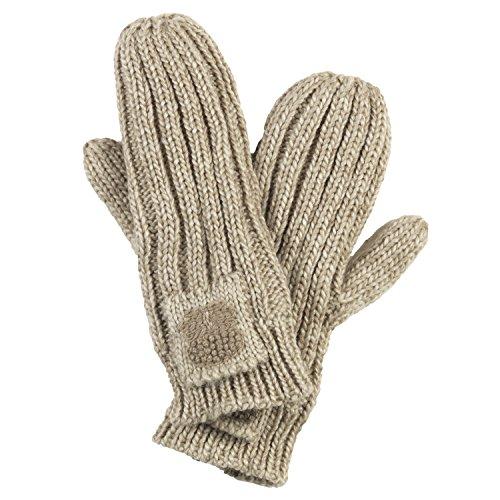 FU-R Headwear Green Thumb Mittens, Women's Wide Rib Knit Gloves, Camel