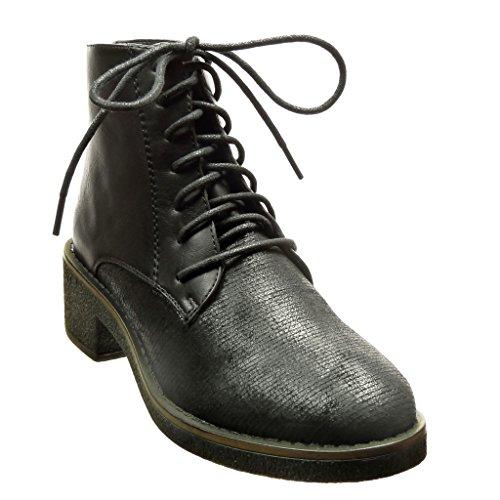 Angkorly - Chaussure Mode Bottine bi-matière montante femme lacets lignes Talon haut bloc 4.5 CM - Noir