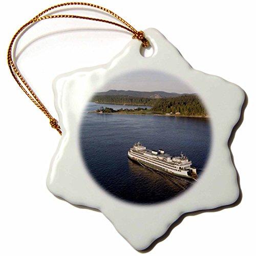 3dRose LLC orn_95700_1 Porcelain Snowflake Ornament, 3-Inch, Washington State Ferry, Shaw Island, San Juan