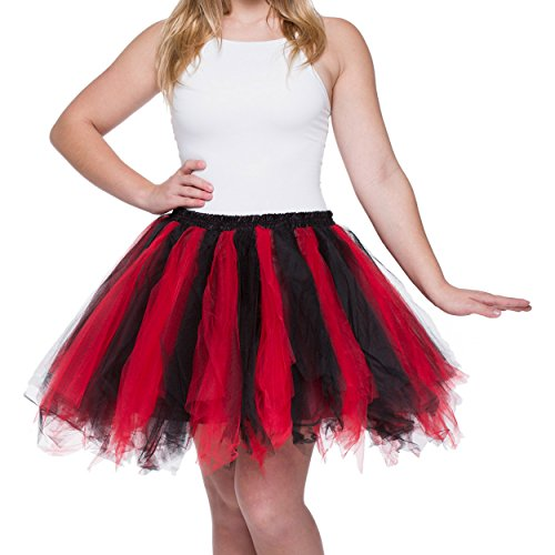 Dancina Women's Adult Vintage Petticoat Tulle Tutu Skirt [Sticker XL],Red / Black,Regular Size -