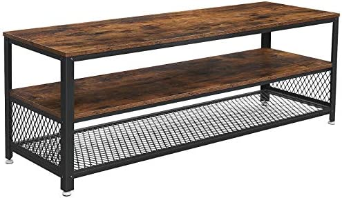 VASAGLE TV Stand, Lengthened TV Cabinet, Console, Coffee Table with Metal Frame, Wood-Like Grain, Industrial for Living Room, Rustic Brown and Black ULTV50BX