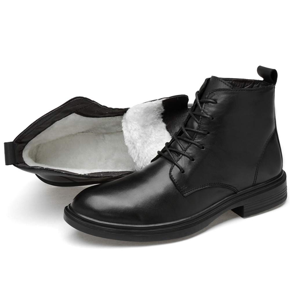 HILOTU Herrenmode Komfortable Stiefeletten Lässige Komfortable Herrenmode Kuhfell Hohe Chukka Stiefel (Warm Velvet Optional) (Farbe   Warm schwarz, Größe   47 EU) fd0aa0