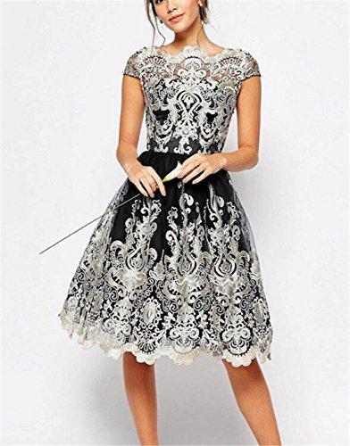 818b5c9b48e9 SHUNLIU 2017 Damen Retro Kleid Elegant Festlich mit Bestickt Gazerock  Spitzenkleid Partykleid Vintage A-Linie Knielang Cocktail Kurz Abend Kleider  ...