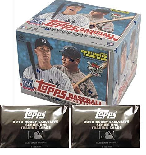 2019 Topps Series 1 MLB Baseball JUMBO box (10 pk, ONE Autograph & TWO Memorabilia cards + 2 bonus pks) ()