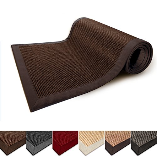 casa-pura-natural-fiber-runner-sisal-non-slip-backing-wide-border-26x9-dark-brown-3-sizes-5-colors