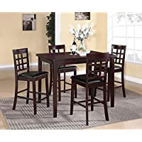 Roundhill Furniture Poka 5PC Espresso Finish Rectangle Wood Counter Height Dining Set