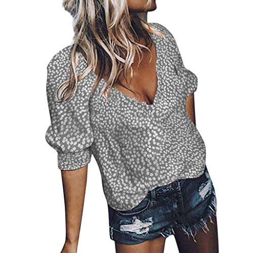 Londony ◈ Women's Short Sleeve Floral V Neck Tops Casual Tunic Blouse Loose Shirt Summer Sexy Tank Tops Shirts Gray