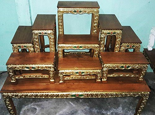 Set Of Altar Table, Thai Buddha Show Table Set Made from Teak Wood Carving 47''L x 25''W inches (Large)